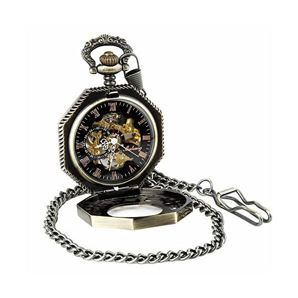 Pocket Watch with Chain Antique Gold Tone Octagon Case Steampunk Mechanical Movement + Box 3