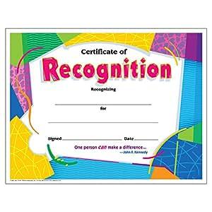 Amazon.com: Trend Enterprises Certificate of Recognition, 30/pkg ...