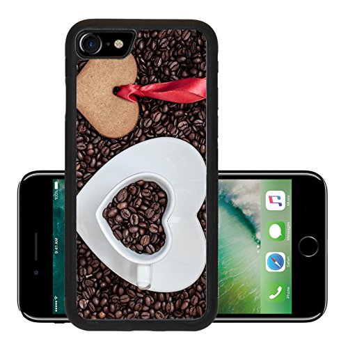 Luxlady Premium Apple iPhone 7 Aluminum Backplate Bumper Snap Case iPhone7 IMAGE 36721654 Coffee time concept Heart shaped cup plate and cookie gingerbread on coffee (Dessert Ideas Day Xmas)