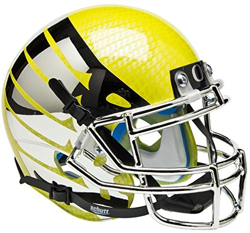 NCAA Oregon Ducks Yellow Wing and Carbon Fiber Mini Helmet, One Size, White (Oregon Ducks Football Helmet)