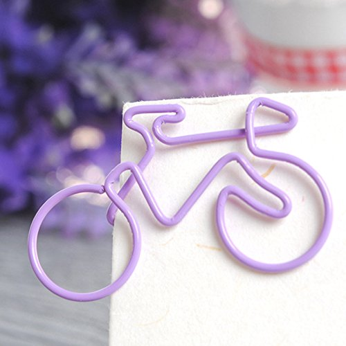 Colorful Creative Bike Paper Clips Metal Card File Clips Pack for Bookmark Office School Notebook 50pcs (Ramdom Color