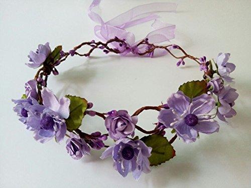 DIY Handmade Artificial Plum Blossom Flowers Rattan Crown Adjustable Bride Flower Headpiece Fairy Headdress Woodland Headband Wedding Hair Accessory for Teens Girls Woman (Purple#73)