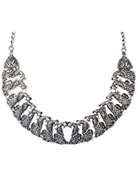 Sansar India Oxidized Peacock Tribal Gypsy Choker Indian Necklace Jewellery for Women