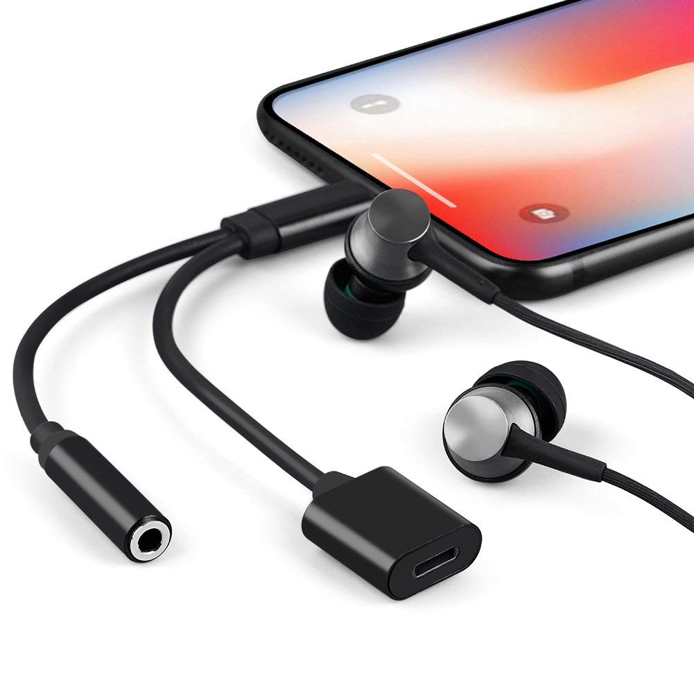 7//7 Plus,Listen to Music Adapter Audio and Charge 3.5mm Splitter Converter Compatible with Adaptor Charger Headphone Adapter Compatible with iPhone Xs//Xs Max//XR// 11//11Pro 8//8 Plus//X Black