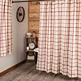 Piper Classics Red Double Windowpane Shower Curtain, 72' x 72', Rustic Farmhouse Bath, Country Cottage Bathroom Décor, Natural Cream & Cranberry Red