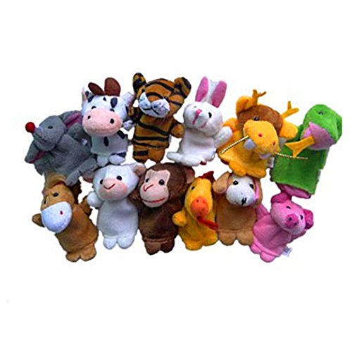 Education toys,Baomabao 12pcs Animal Finger Puppet Plush Child Baby Early Education Toys (Playset Finger Puppets)