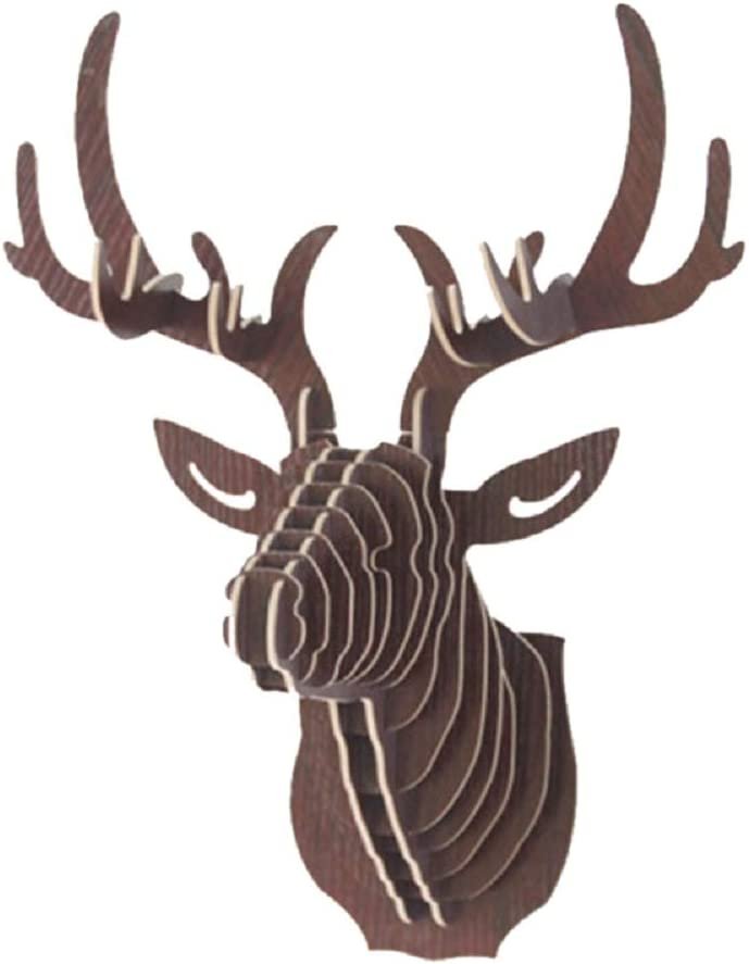 Hooshing Wall Decor Deer Head Antler Wooden Trophy Sculpture DIY 3D Puzzle Brown