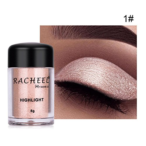 Sparkly Loose Powder EyeShadow, Keepfit Fashion Cosmetics Makeup Glitter Gold and Silver Eye Shadow Pigment for Women (A)