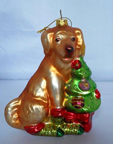 - Ganz Golden Retriever Dog with Christmas Tree Glass Ornament 5