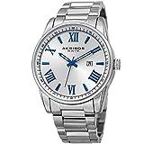 Akribos XXIV Men's Quartz Silver-Tone Case with Blue Accented White Dial on Silver-Tone Stainless Steel Bracelet Watch AK936SS