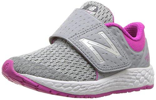 New Balance Girls' Zante v4 Hook and Loop Running Shoe, Silver Mink/Azalea, 9 W US Toddler