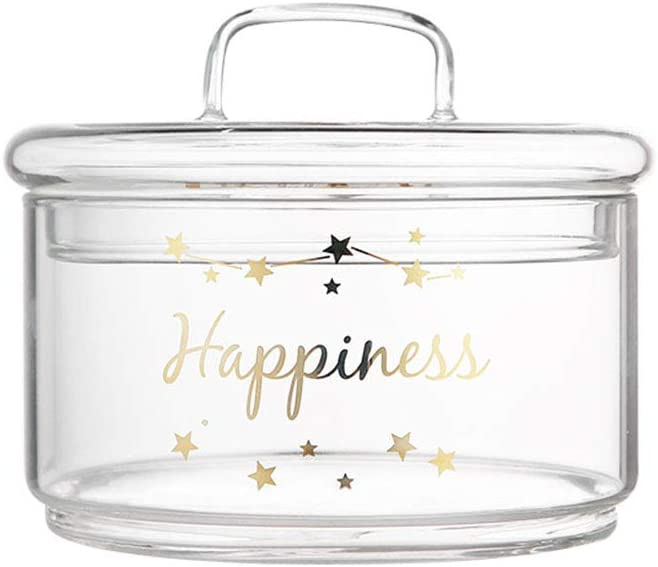 Glass Candy Sweet Jar with Lid, Decorative Sugar Bowl Bon Bon Jar Covered Elegant Cookie Dish Buffet Storage Container Clear, Ideal For Home, Office and Party Wedding