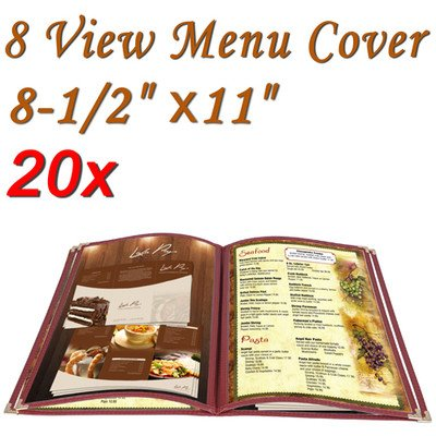Menu Cover: PVC Vinyl 8 View Red (Cafe) 8-1/2''x11'' 20 Pcs by KOVAL INC.
