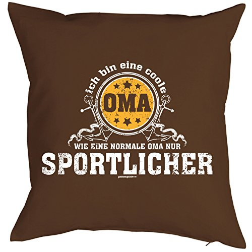 Kissen, Sitzkissen, Dekokissen incl Füllung - Ich bin eine coole Oma, wie eine normale Oma nur sportlicher!