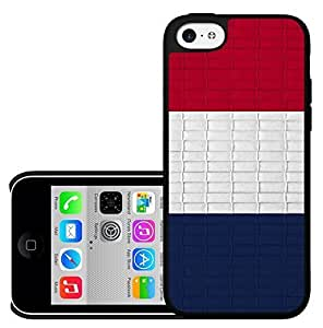 MMZ DIY PHONE CASEFrance Flag Red White Blue Thick Horizontal Stripes with Brick Pattern Background Hard Snap on Phone Case Cover ipod touch 5