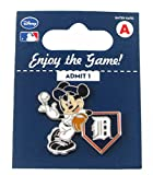 MLB Detroit Tigers Disney Pin - Mickey Leaning on Home Base