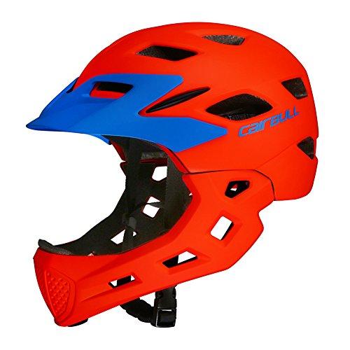 MeterMall Children Full Face Covered Helmet Bike Riding Kids Skating Sport Safety Guard Bicycle Helmet Orange S-M (50-57CM)