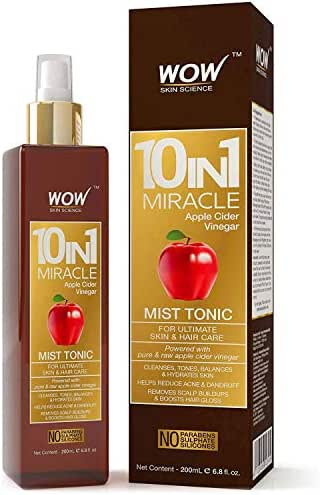WOW Apple Cider Vinegar Facial Toner for Face, Hair, Body - Natural Hair & Skin Care Mist - Hydrating Rose Water Spray for Pore Minimizer & Clear Activator - No Alcohol, Sulfate, or Salt - 6.8 OZ