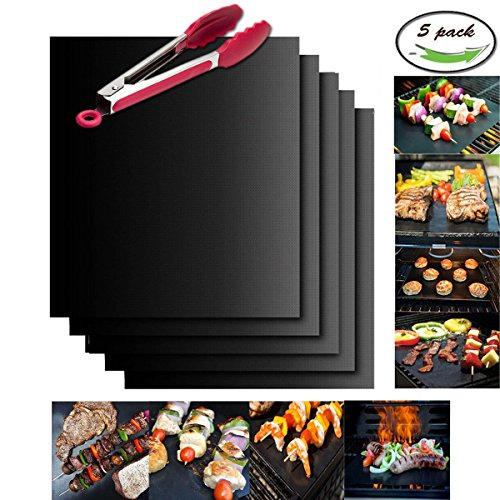 Great Features Of Grill Mat Set with Roasting Tongs By U-miss - 100% Non-stick BBQ Grill & Baking Ma...