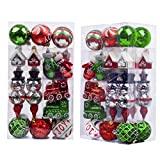 Valery Madelyn 50ct Classic Traditional New Red Green White Shatterproof Christmas Ball Ornaments Decoration,Themed with Tree Skirt(Not Included)
