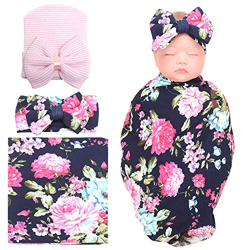 (DRESHOW 3 Pack Receiving Blanket with Headband and Hat BQUBO Newborn Baby Floral Printed Baby Shower Swaddle Gift)