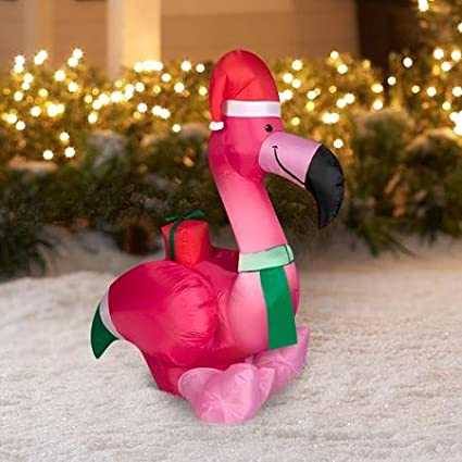 airblown inflatable lighted pink flamingo funny santa hat holiday ornament yard decoration