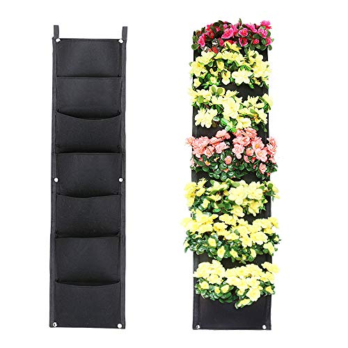 X XBEN Vertical Wall Hanging Planters, 7 Pockets Indoor Outdoor Large Grow Bags for Balcony Garden Yard Office Home ()