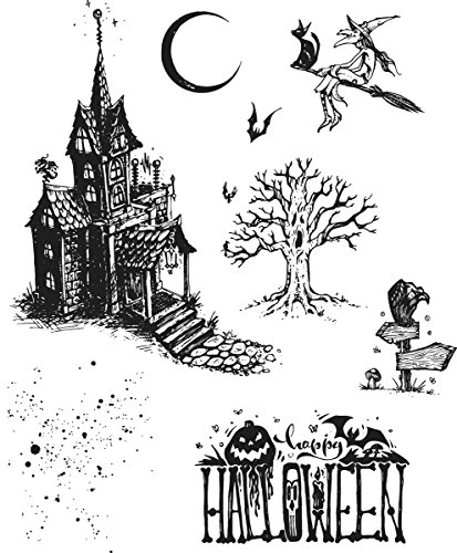 Stampers Anonymous CMS308 Tim Holtz Cling Stamps 7''X8.5''-Haunted House by Stampers Anonymous