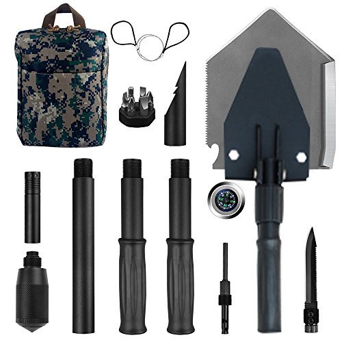 Military Portable Folding Shovel [35 inch Length] and Pickax with Tactical Waist Pack all-in-1 Army Surplus Multitool Tactical Spade for Camping Hiking Backpacking Entrenching Tool Car Emergency