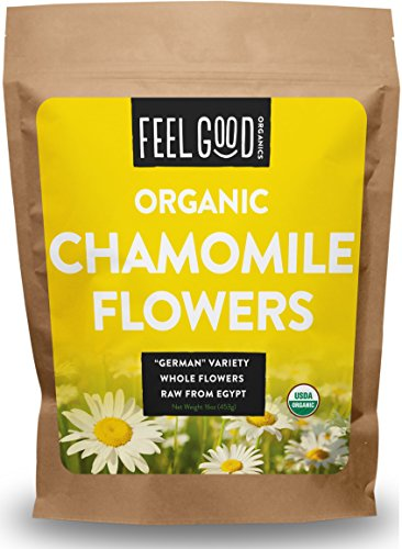 Organic Chamomile Flowers - 16oz Resealable Bag - 100% Raw From Egypt - by Feel Good (Organic Herbal Bath Bags)