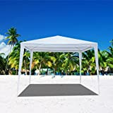 Mefeir Heavy Duty 10'x10' Outdoor Canopy Gazebo Tent with Upgraded Thick Tube, Waterproof Sun Shelter, Instant Folding, UV Protection for Party Wedding, Beach, Backyard, Patio, Pool(White)