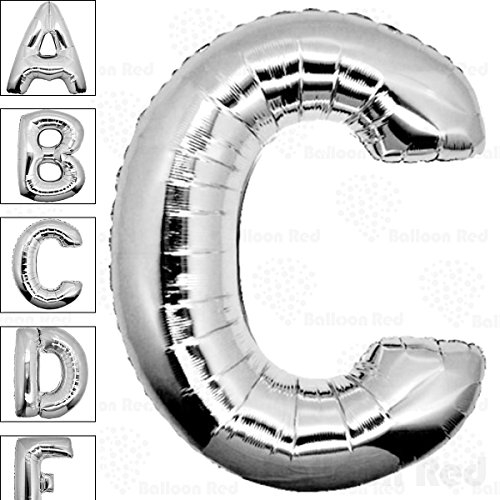 40 Inch Giant Jumbo Helium Foil Mylar Balloons (Premium Quality), Glossy Silver, Letter C