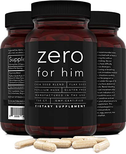 Zero for Him Dietary Fiber Supplement for Men (150caps) Strong Vegan Fiber Pills, Psyllium Husk, Flax Seeds and Chia Seeds Pure Supplement for Digestive Health, for Men Seeking Clean and Fun Night
