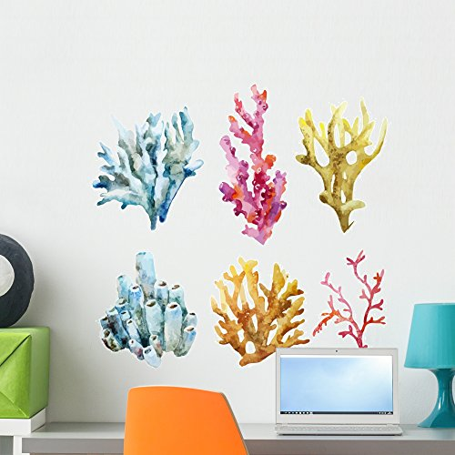 - Wallmonkeys Corals with Shells and Wall Decal Sticker Set Individual Peel and Stick Graphics on a (24 in H x 24 in W) Sticker Sheet WM369281