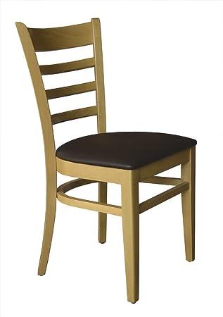 Set 2 Stuhle Stuhl Esszimmerstuhl Buche Natur Honig Gepolstert Braun