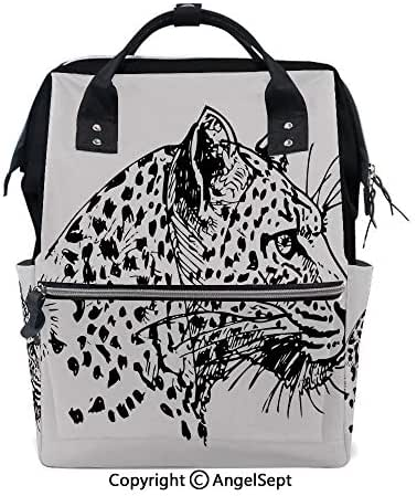 Travel&Outdoor Water-Resistant Baby Bags,Hand Drawn Jaguar Profile Wildlife Jungle Animal African Safari Theme Artwork Black White,15.7 inches,Multi-Function for Mon Daddy
