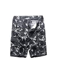 MADHERO Mens Camo Cargo Shorts Big Tall Camouflage Twill Cargo Shorts