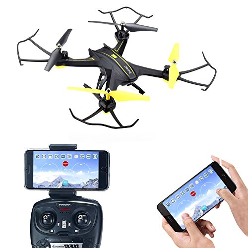 Drones with Camera,SOPOW 1280x720P RC Quadcopter with Live Video Altitude Hold Headless Mode For Beginners Kids Adults (Yellow)