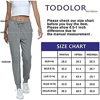 TODOLOR Womens Workout Sweatpants Cotton Joggers Pants Track Cuff Drawstring Lounge Sweat Pants with Pockets