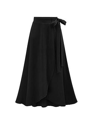 d9c83eadaa383 Winfon Femme Jupe Longue Hiver Taille Haute Vintage Chic Rétro Jupe Fluide  (S(Tour