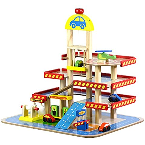 Wooden Multi Storey Car Park and Garage - Includes Toy Cars & Accessories - Toy Parking Garage Elevator