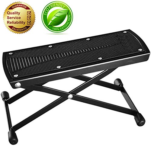 Guitar Foot Rest, Height Adjustable Guitar Footstools/Folding Footstool,Pedal (Black)