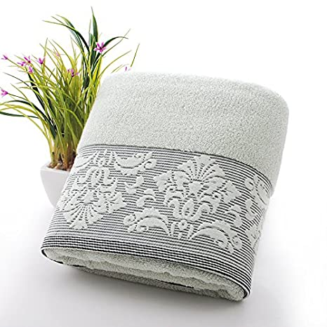 Pure algodón grandes toallas de baño adultos hombres y mujeres con parejas de pared torácica, absorción de agua envuelta, pelusa, verde: Amazon.es: Hogar