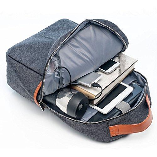 BiDZO Rucksack 20 L für Amazon Kindle | Amazon Kindle Paperwhite | Amazon Kindle Voyager | Amazon Kindle Oasis mit Ladefunktion über Powerbank - GRAU