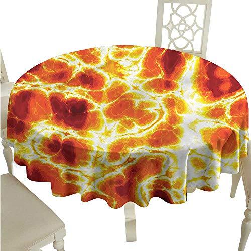 StarsART Round Tablecloth Black Burnt Orange,Hot Burning Lava Fire D60,for Spring