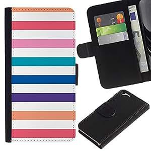 EJOY---La carpeta del tirón la caja de cuero de alta calidad de la PU Caso protector / Apple Iphone 6 / --Playa líneas blancas en colores pastel colorido