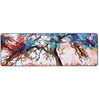 Wolala Home Abstract Graffiti Oil Painting Tree Machine Washable Non-slip Rugs Kitchen Rug Runners 2 Feet by 5 Feet (2 x 5, Multi)