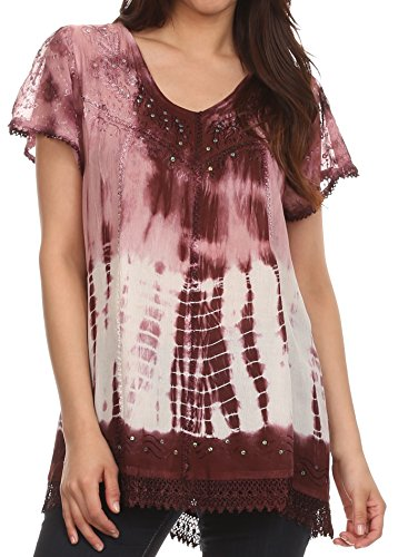Sakkas 776 - Violet Embroidery Tie Dye Sequin Accents Blouse/Top - Rose - OS