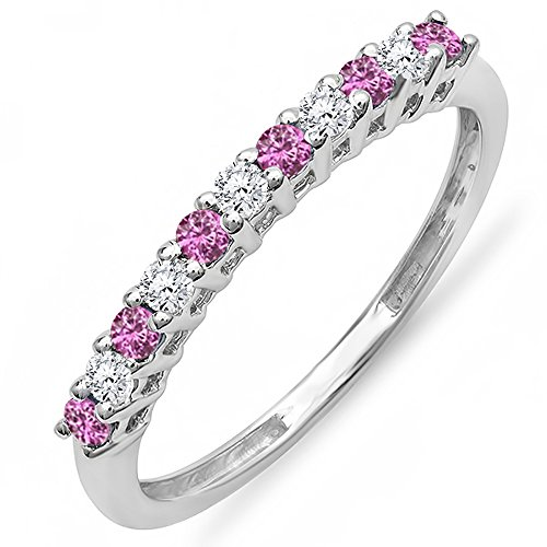 14K-White-Gold-Pink-Sapphire-White-Diamond-Ladies-Anniversary-Wedding-Stackable-Ring