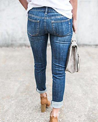 Stirata Boyfriend Slim Fit Chiaro Strappati Donna Femminili Jeans Azzurro Skinny Pantaloni qxwUH1nP